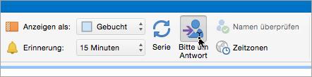 Screenshot der Schaltfläche zum Anfordern von Antworten in Outlook 2016 für Mac