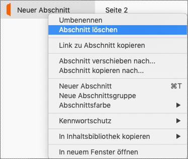 """Kontextmenü """"Abschnitt"""" auf dem Mac mit hervorgehobenem Abschnitt """"Löschen""""."""