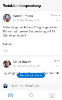 Neue Unterhaltungsoberfläche in Outlook für iOS