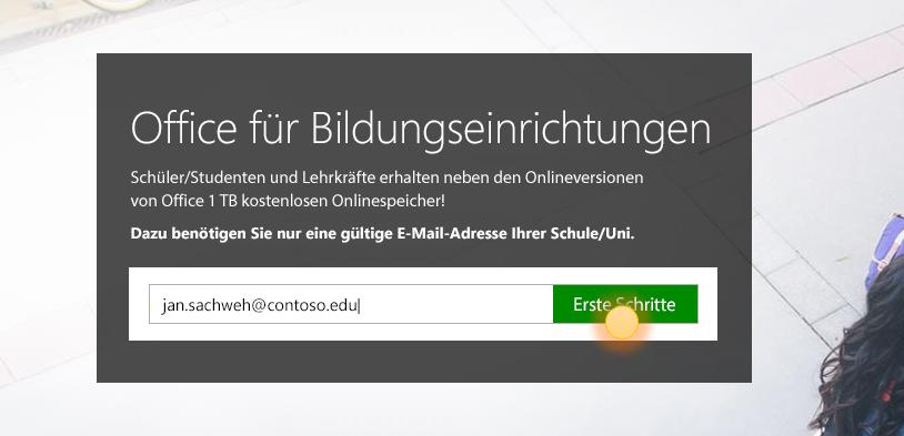 """Screenshot der Anmeldeseite """"Erste Schritte"""""""