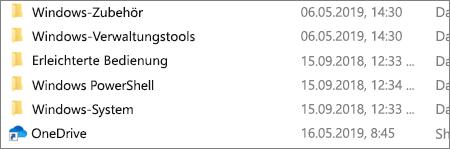 Screenshot der Anwendung OneDrive im Datei-Explorer.