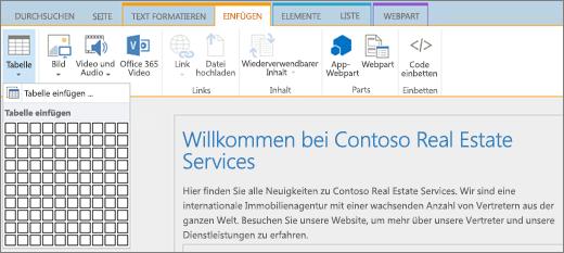 """Screenshot des SharePoint Online-Menübands. Wählen Sie die Registerkarte """"Einfügen"""" und dann """"Tabelle einfügen"""" aus, um die Anzahl der Zeilen und Spalten für eine neue Tabelle anzugeben."""