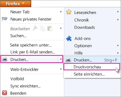 Druckvorschau in Firefox