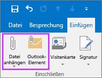 """Klicken Sie auf der Registerkarte """"Datei"""" auf """"Datei oder E-Mail-Element anfügen""""."""