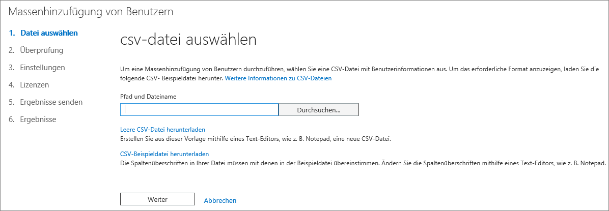 Schritt 1 des Assistenten zur Massenhinzufügung von Benutzern – CSV-Datei auswählen