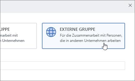 """Screenshot des Bildschirms """"Neue Gruppe erstellen"""" in Yammer mit ausgewählter Option """"Externe Gruppe"""""""