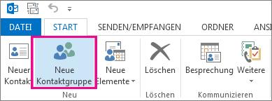 Auf der Registerkarte 'Start' auf 'Neue Kontaktgruppe' klicken