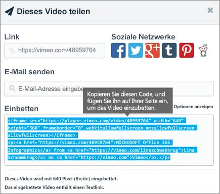 Beispiel für das Verwenden von Einbindungscode zum Einbetten von Inhalt auf einer SharePoint-Seite