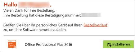"""Zeigt die Schaltfläche """"Installieren"""" in der E-Mail vom Home Use Program."""