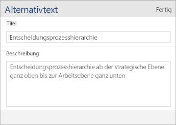 """Screenshot des Dialogfelds """"Alternativtext"""" in Word Mobile mit den Feldern """"Titel"""" und """"Beschreibung"""""""