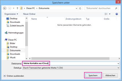 """Geben Sie einen Namen für Ihre CSV-Datei ein, und wählen Sie dann """"Speichern"""" aus."""