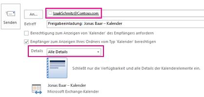 Einladung zur externen Freigabe der Postfach-E-Mail – Feld 'An' und Einstellung 'Details'