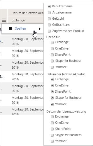 Filteroptionen für die Benutzerebene