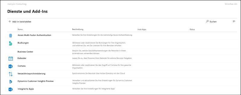 """Bildschirmaufnahme: Seite """"Einstellungen und Add-Ins"""" in der Microsoft 365 Admin Center Preview."""