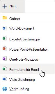 """Option """"Formular für Excel einfügen"""" in Excel Online"""