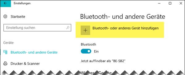 Ein Bluetooth-Gerät hinzufügen