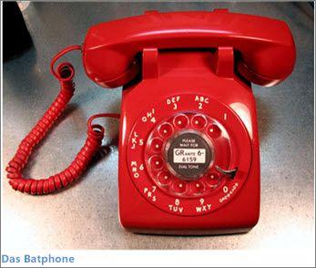 Abbildung eines roten Bat-Telefons (aus der TV-Serie 'Batman')