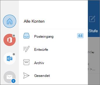 Hinzufügen von Konten in Outlook Mobile