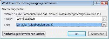 Nachschlagen einer Workflowvariablen namens 'Aufgabenelement-ID'