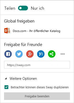 Freigabeoptionen in Sway (Microsoft-Konto)
