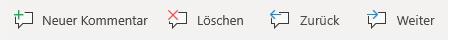 """Die Schaltflächen für """"Kommentar"""" in Windows Mobile: """"Neuen Kommentar erstellen"""", """"Aktuellen Kommentar löschen"""", """"Zum vorherigen Kommentar wechseln"""" und """"Zum nächsten Kommentar wechseln"""""""