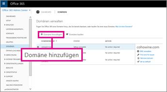 """Auf der Office 365-Seite """"Domänen"""" auf """"Domäne hinzufügen"""" klicken"""