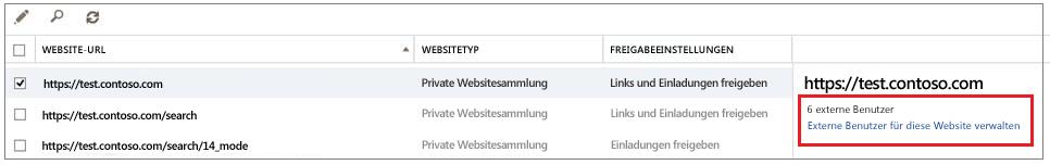 """Der Bildschirm """"Websites freigeben"""" mit hervorgehobenem Link """"Externe Benutzer verwalten"""