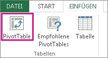 """Schaltfläche """"PivotTable"""" auf der Registerkarte """"Einfügen"""""""