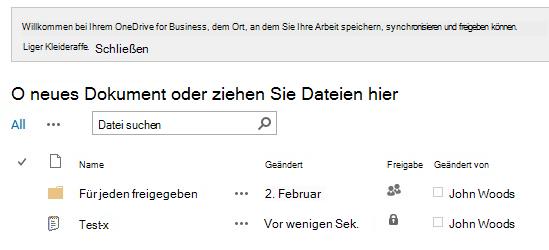 OneDrive for Business-Dokumentbibliothek