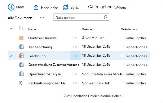 Dialogfeld der SharePoint-Dokumentbibliothek mit mehreren Dateien.