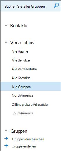 Ordner und Verzeichnisse, die angezeigt werden, wenn Sie im Kalender von Outlook im Web für Unternehmen Gruppen durchsuchen