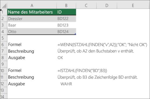 Ein Beispiel für die Verwendung von if-, IsNumber-und Find-Funktionen, um zu überprüfen, ob ein Teil einer Zelle mit einem bestimmten Text übereinstimmt