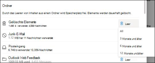 Speichereinstellungen für Outlook.com.
