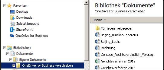 Der Stagingordner nach dem Verschieben von Dateien aus dem synchronisierten SharePoint OneDrive for Business-Ordner