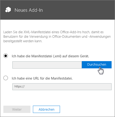 Office 365-Fenster für neues Add-In