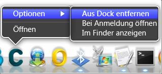Optionen > Aus Dock entfernen