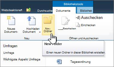 """SharePoint 2010-Menüband """"Dokumente"""" mit hervorgehobener Schaltfläche """"Neuer Ordner"""""""