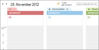 Mehrere Kalender mit verschiedenen Hintergrundfarben