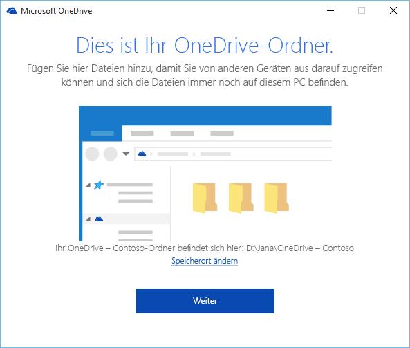 """Screenshot des Bildschirms """"Dies ist Ihr OneDrive-Ordner"""" im Assistenten """"Willkommen bei OneDrive"""""""