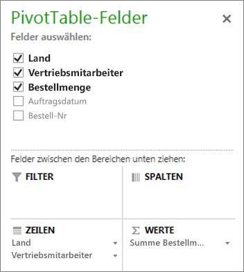 PivotTable-Feldliste