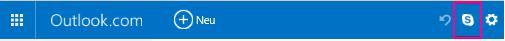 """Schaltfläche """"Skype"""" auf der klassischen Outlook.com-Benutzeroberfläche"""