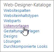 """Link """"Listenvorlagen"""" auf der Seite """"Websiteeinstellungen"""""""