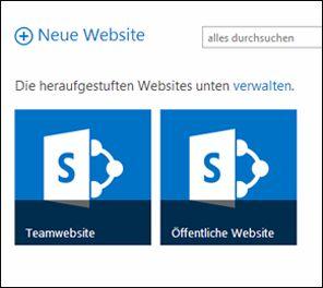 Office 365-Seite 'Websites' mit den Kacheln für 'Teamwebsite' und 'Öffentliche Website'