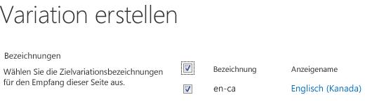 Screenshot mit Kontrolkästchen, der die Variationswebsites zeigt, an die Inhaltsaktualisierungen gesendet werden sollen. Ebenfalls aufgeführt sind Variationsbezeichnungen und deren zugehörige Anzeigenamen.
