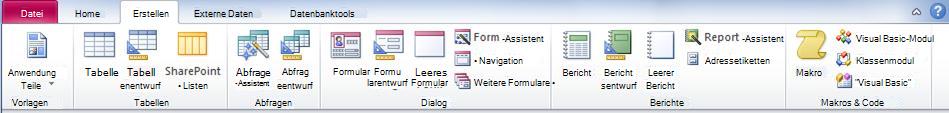 Die Registerkarte 'Erstellen' im Menüband von Access