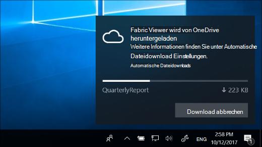 Herunterladen einer Benachrichtigung, wenn OneDrive files on-Demand aktiviert ist