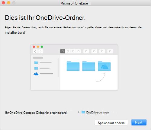 """Screenshot der Seite """"Dies ist Ihr OneDrive-Ordner"""" nach Auswahl eines Ordners im Assistenten """"Willkommen bei OneDrive"""" auf einem Mac"""