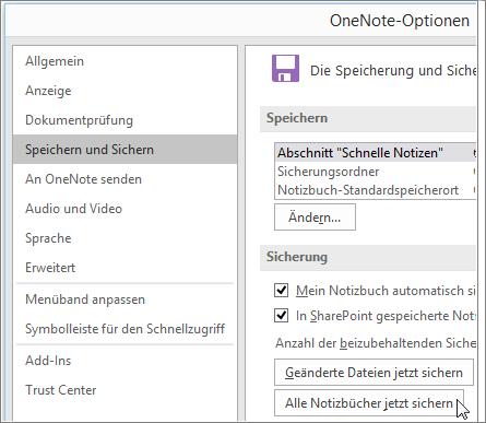"Screenshot des Dialogfelds ""OneNote-Optionen"" in OneNote 2016."