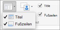 Screenshot zeigt die Titel und Fußzeilen Optionen in der Gruppe Masterlayout.