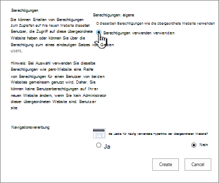"""Dialogfeld zum Hinzufügen eines Unternehmenswikis mit """"Eigene Berechtigungen verwenden"""" hervorgehoben"""